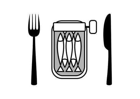 sardines: Can of sardines with cutlery