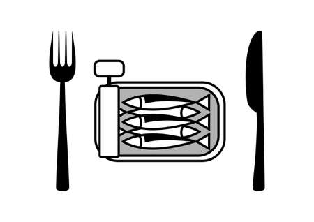 Can of sardines with cutlery Vector