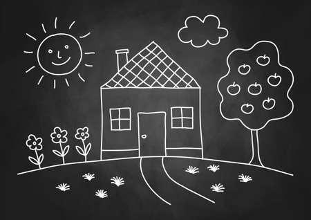Zeichnung des Hauses auf Tafel Standard-Bild - 18081595