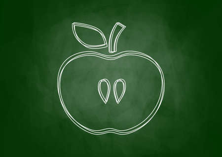 Drawing of apple on blackboard Stock Vector - 18149827