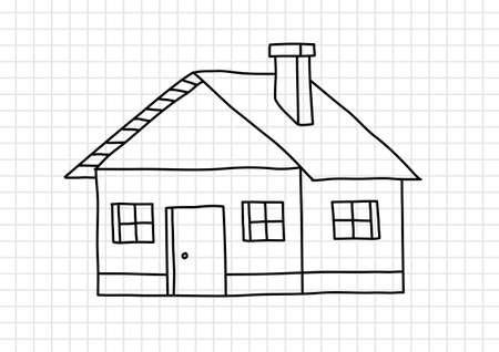 squared paper: Drawing of house on squared paper Illustration