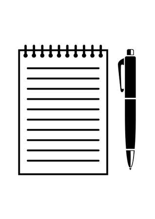 notebook page: Writing pad and pen Illustration