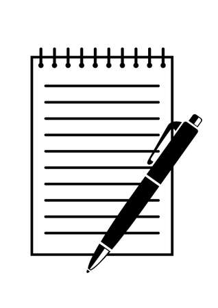 ballpoint pen: Writing pad and pen Illustration