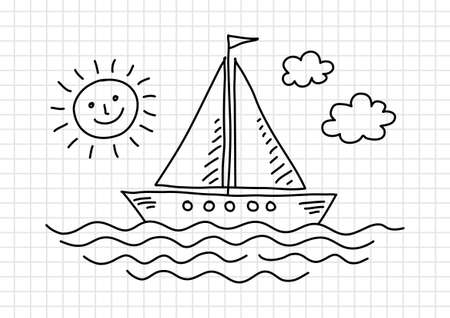 squared paper: Drawing of sailboat on squared paper