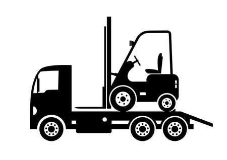 breakdown truck: Tow truck and forklift Illustration