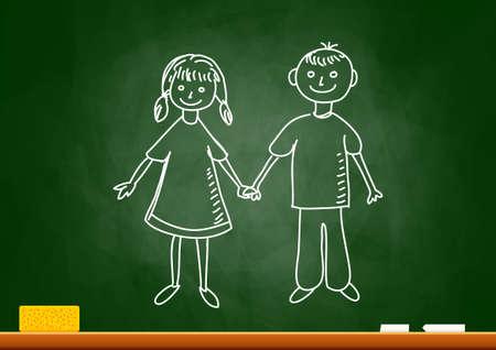 Drawing of children on blackboard Stock Vector - 18335546