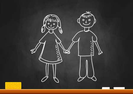 femme dessin: Dessin d'enfants sur tableau noir Illustration