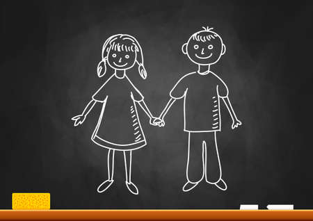 girl drawing: Drawing of children on blackboard Illustration