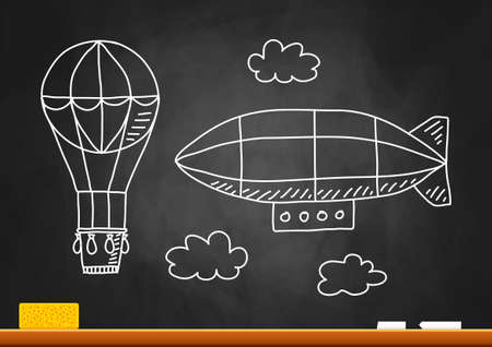 Hot air balloon and airship on blackboard