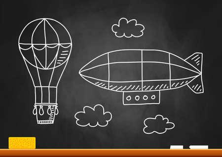 Hot air balloon and airship on blackboard