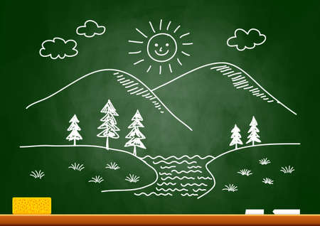 Drawing of landscape on blackboard Vector