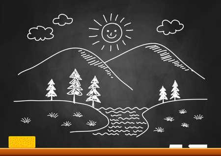 Drawing of landscape on blackboard Stock Vector - 18516762