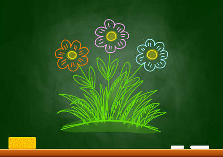 Drawing of flowers on blackboard Vector