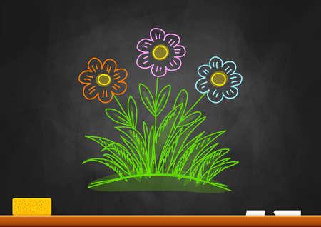 Drawing of flowers on blackboard Stock Vector - 18516732