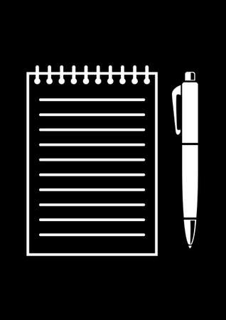 writing pad: Writing pad and pen Illustration