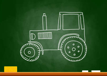 Drawing of tractor on blackboard Stock Vector - 18562000