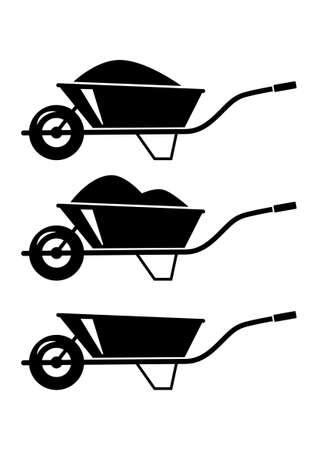 Wheelbarrow icons Stock Vector - 18596718