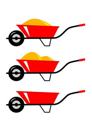 Wheelbarrow icons Stock Vector - 18596713