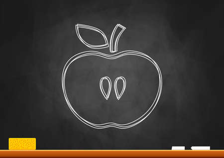 Drawing of apple on blackboard Stock Vector - 18596714