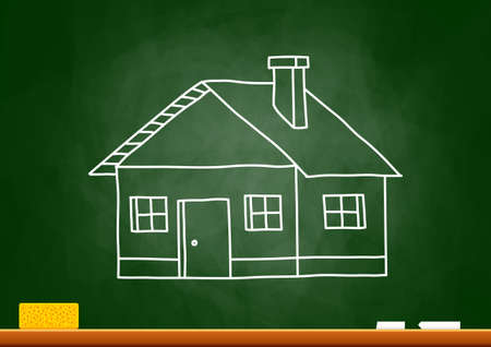 Drawing of house on blackboard Stock Vector - 18717182