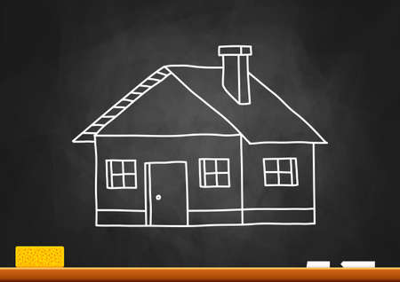 Drawing of house on blackboard Stock Vector - 18717180