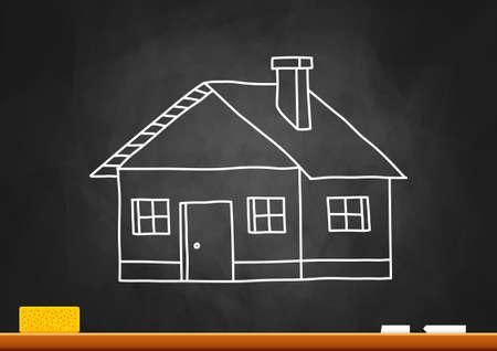 school cartoon: Drawing of house on blackboard