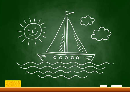 Drawing of sailboat on blackboard Stock Vector - 18717184