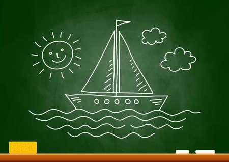 Drawing of sailboat on blackboard Stock Vector - 18717184