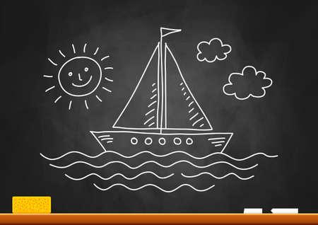 Drawing of sailboat on blackboard Stock Vector - 18717181