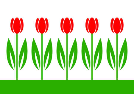 Red tulips Stock Vector - 18717209
