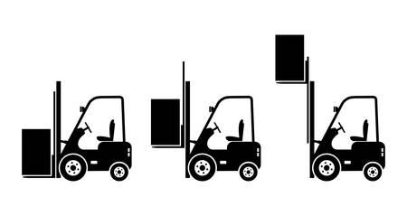 montacargas: Iconos elevadoras de camiones Vectores
