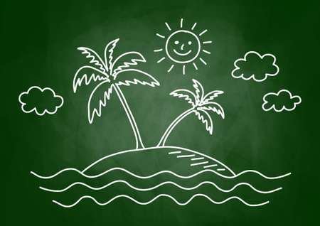 palmtree: Palm tree drawing on blackboard Illustration