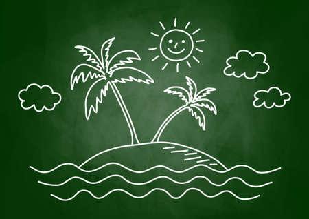 Palm tree drawing on blackboard