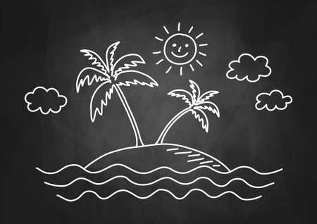 relaxar: Desenho da palmeira no quadro-negro Ilustração