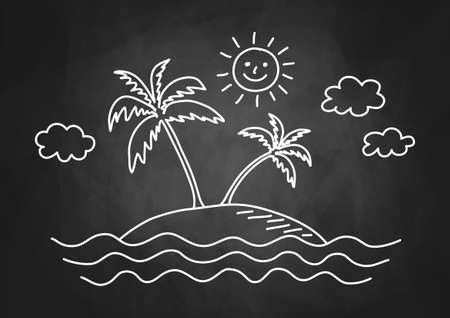 Palm tree drawing on blackboard Vectores