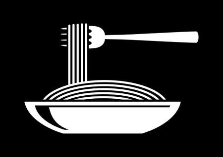 plato pasta: Espaguetis icono Vectores