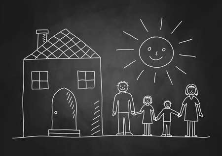 Drawing of family on blackboard Vectores