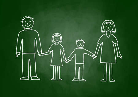Drawing of family on blackboard Иллюстрация