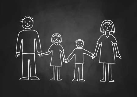 Drawing of family on blackboard Stock Illustratie