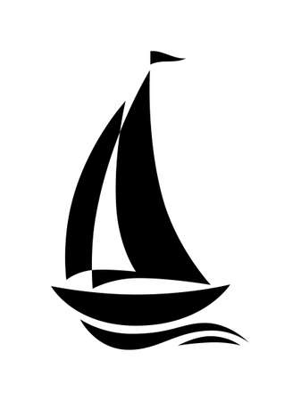 sailing yacht: Sailboat icon Illustration