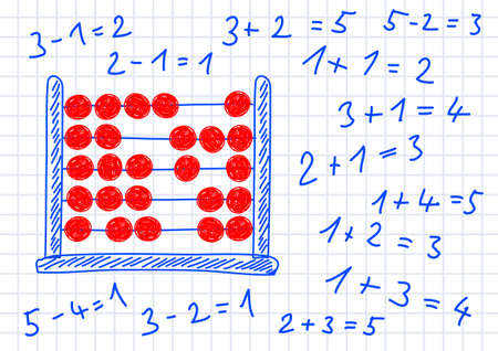 computations: Drawing of abacus on squared paper
