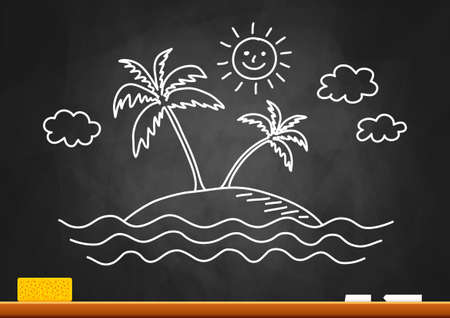 Palm tree drawing on blackboard Stock Vector - 19505707