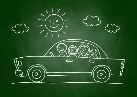 Car drawing on blackboard Vector