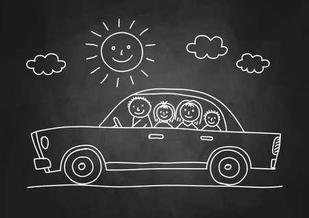 Car Zeichnung auf Tafel Standard-Bild - 19657677
