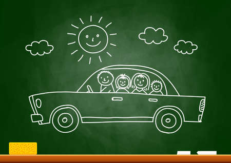 Car drawing on blackboard