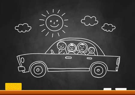 Car drawing on blackboard Vector