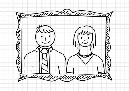 squared paper: Parents portrait on squared paper