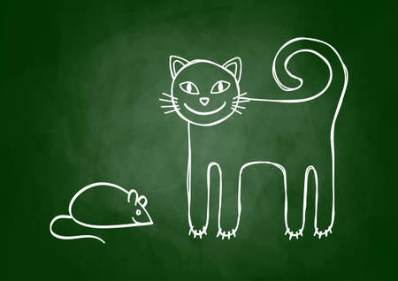 Cat and mouse on blackboard Vector