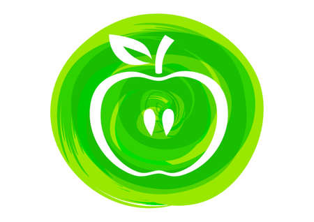 ripened: Apple on green abstract background