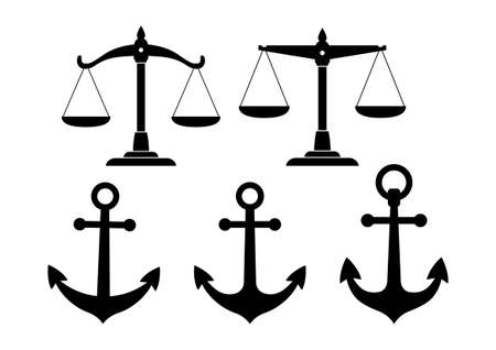 scale of justice: Black icon set